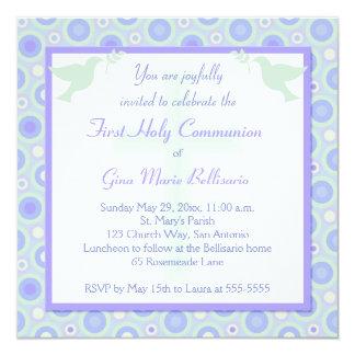 Convite do comunhão dos círculos azuis e verdes