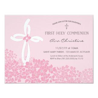 Convite do comunhão santamente da menina primeiro