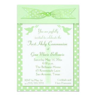 Convite do comunhão santamente das bolinhas verdes