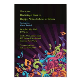 Convite do considerando das notas musicais convite 12.7 x 17.78cm