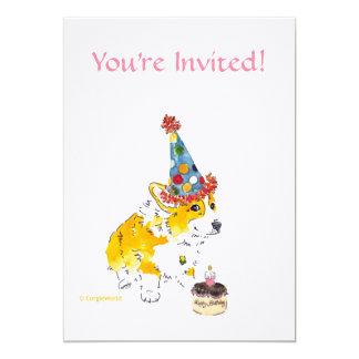 Convite do Corgi da festa de aniversário