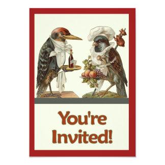 Convite do cozinheiro do corvo e do barman do
