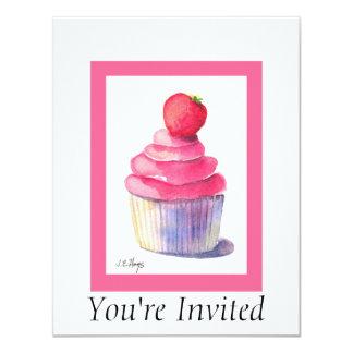 Convite do cupcake da morango