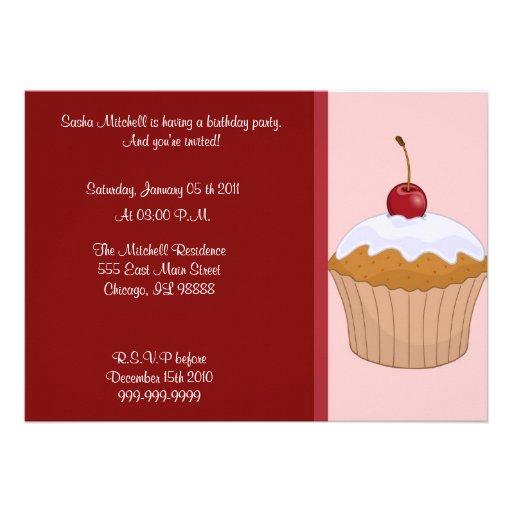 Convite do cupcake do aniversário