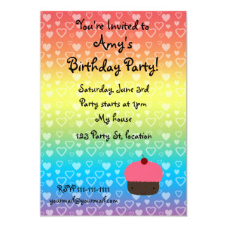 Convite do cupcake do aniversário dos corações do convite 12.7 x 17.78cm