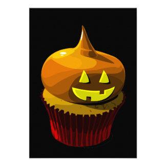 Convite do cupcake do Dia das Bruxas