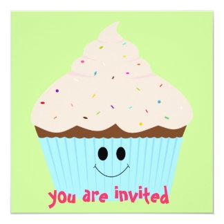 Convite do cupcake (rosa) convite quadrado 13.35 x 13.35cm