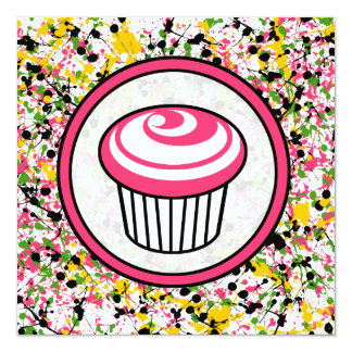 Convite do cupcake - Splatter multicolorido da Convite Quadrado 13.35 X 13.35cm