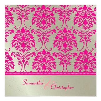 Convite do damasco do rosa quente/casamento de