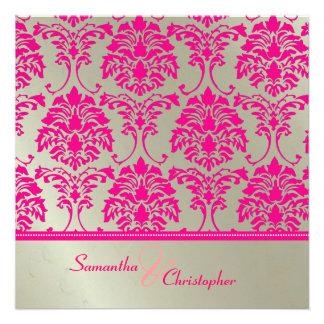 Convite do damasco do rosa quente/casamento de pra