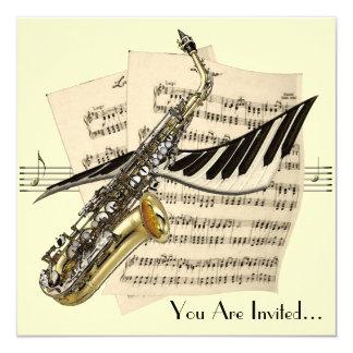 Convite do design da música do saxofone