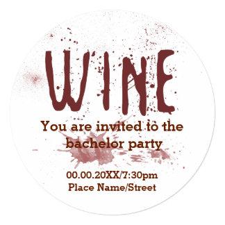 Convite do despedida de solteiro do vinho tinto