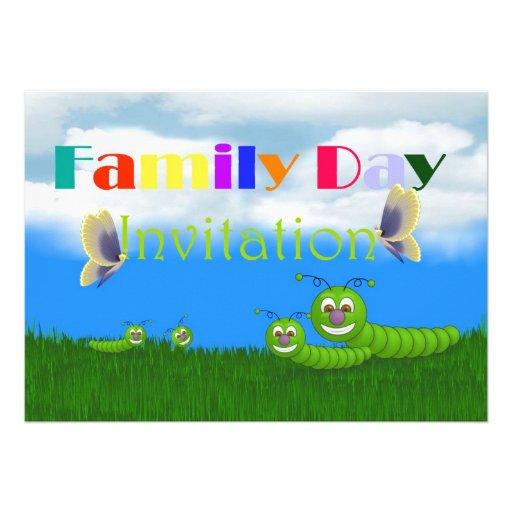 Convite do dia da família com borboleta das lagart