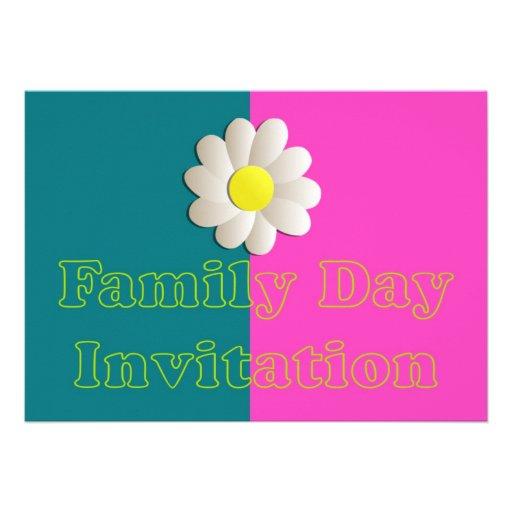 Convite do dia da família com flor da margarida