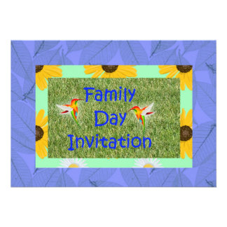 Convite do dia da família com hummingbrids