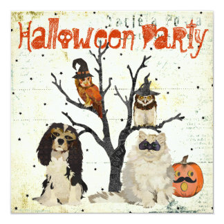Convite do Dia das Bruxas dos animais do mascarada