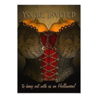 Convite do Dia das Bruxas engraçado do espartilho