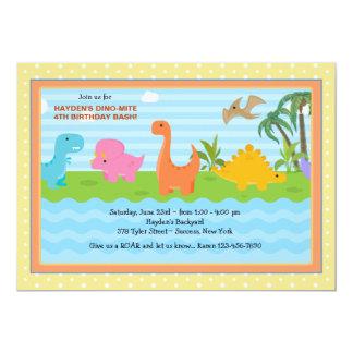 Convite do dinossauro dos amigos do Dino-Ácaro Convite 12.7 X 17.78cm