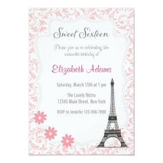 Convite do doce dezesseis do tema de Paris