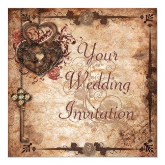 Convite do fechamento e do casamento da chave