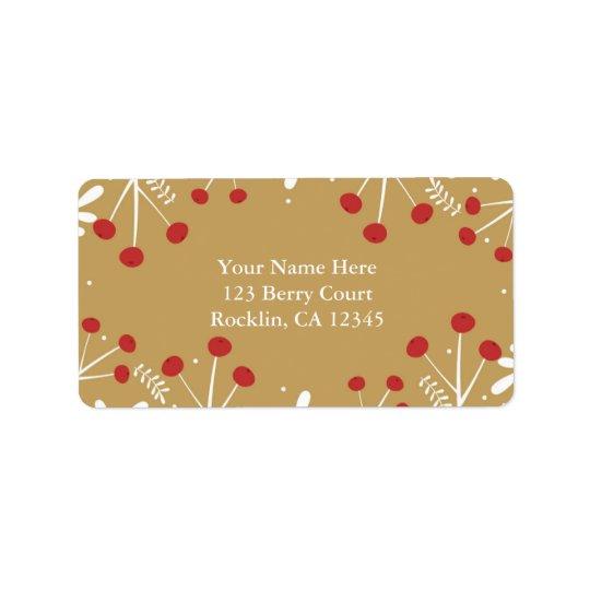 Convite do feriado do ouro das folhas & das bagas etiqueta de endereço