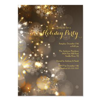 Convite do feriado dos flocos de neve do ouro &