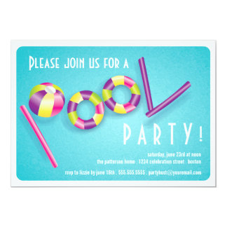 Convite do flutuador da piscina da festa na