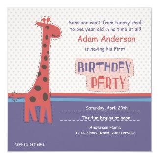 Convite do girafa da festa de aniversário