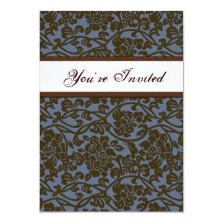 Convite do Housewarming do damasco de Brown azul
