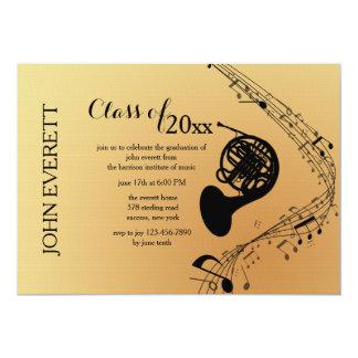 Convite do instrumento musical da trompa francesa