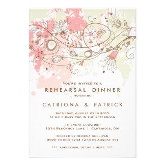 Convite do jantar de ensaio da aguarela e das flor