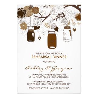 Convite do jantar de ensaio da queda dos frascos d