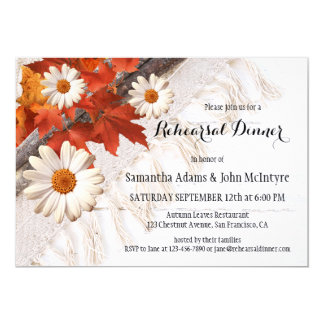 Convite do jantar de ensaio das folhas de outono