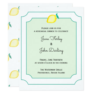 Convite do jantar de ensaio do limão