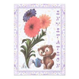 Convite do jardineiro do urso de ursinho