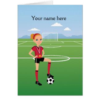 Convite do jogador de futebol da menina/fósforo de cartão comemorativo