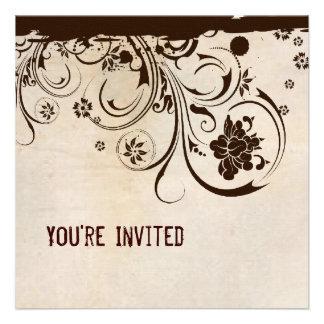 Convite do laço do pergaminho e do Brown do chique