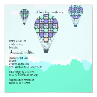Convite do menino do chá de fraldas dos balões de