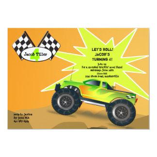 Convite do monster truck convite 12.7 x 17.78cm
