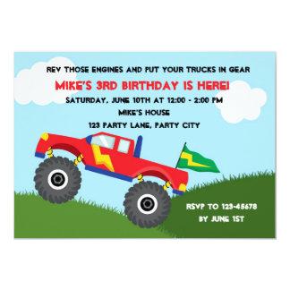 Convite do monster truck - aniversário dos meninos convite 12.7 x 17.78cm