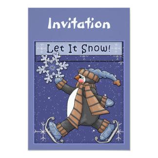 Convite do Natal com pinguim engraçado