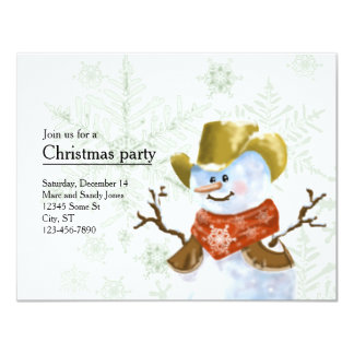 Convite do Natal do boneco de neve do vaqueiro