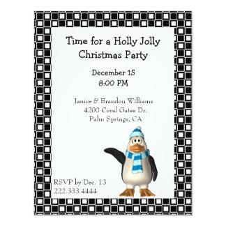 Convite do Natal do pinguim dos desenhos animados