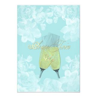 Convite do noivado de turquesa do Gardenia do