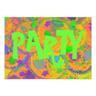 Convite do partido dos cupcakes alaranjados