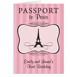 Convite do passaporte de Paris do aniversário dos Cartão