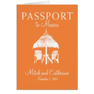 Convite do passaporte do casamento a México