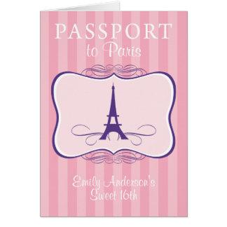 Convite do passaporte do doce 16o cartões