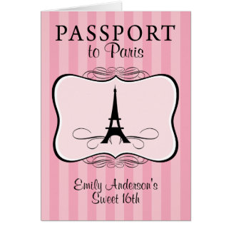 Convite do passaporte do doce 16o cartão