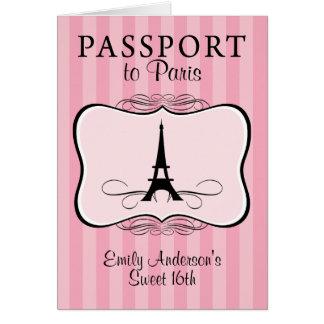 Convite do passaporte do doce 16o cartão de nota